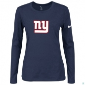 Nike New York Giants Women's Of The City Long Sleeve TriBlend TShirt D-Blue