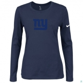 Nike New York Giants Women's Of The City Long Sleeve TriBlend TShirt D-Blue 2