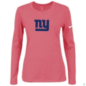 Nike New York Giants Women's Of The City Long Sleeve TriBlend TShirt Pink 2
