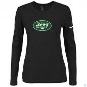 Nike New York Jets Women's Of The City Long Sleeve TriBlend TShirt Black