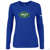 Nike New York Jets Women's Of The City Long Sleeve TriBlend TShirt Blue