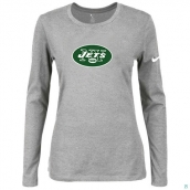 Nike New York Jets Women's Of The City Long Sleeve TriBlend TShirt L-Grey