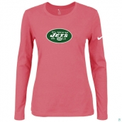 Nike New York Jets Women's Of The City Long Sleeve TriBlend TShirt Pink
