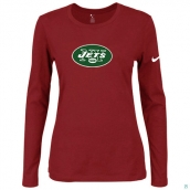 Nike New York Jets Women's Of The City Long Sleeve TriBlend TShirt Red