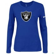 Nike Oakland Raiders Women's Of The City Long Sleeve TriBlend TShirt Blue