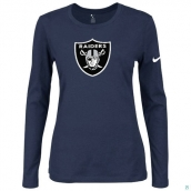 Nike Oakland Raiders Women's Of The City Long Sleeve TriBlend TShirt D-Blue