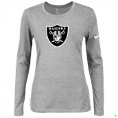 Nike Oakland Raiders Women's Of The City Long Sleeve TriBlend TShirt L-Grey