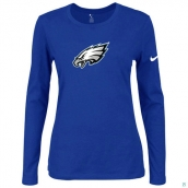 Nike Philadelphia Eagles Women's Of The City Long Sleeve TriBlend TShirt Blue