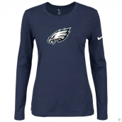 Nike Philadelphia Eagles Women's Of The City Long Sleeve TriBlend TShirt D-Blue