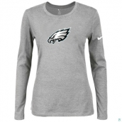 Nike Philadelphia Eagles Women's Of The City Long Sleeve TriBlend TShirt L-Grey