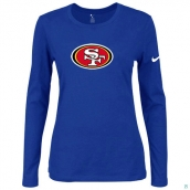 Nike San Francisco 49ers Women's Of The City Long Sleeve TriBlend TShirt Blue