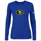 Nike San Francisco 49ers Women's Of The City Long Sleeve TriBlend TShirt Blue 2