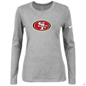 Nike San Francisco 49ers Women's Of The City Long Sleeve TriBlend TShirt L-Grey