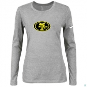 Nike San Francisco 49ers Women's Of The City Long Sleeve TriBlend TShirt L-Grey 2