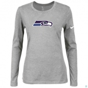 Nike Seattle Seahawks Women's Of The City Long Sleeve TriBlend TShirt L-Grey