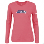 Nike Seattle Seahawks Women's Of The City Long Sleeve TriBlend TShirt Pink