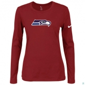 Nike Seattle Seahawks Women's Of The City Long Sleeve TriBlend TShirt Red