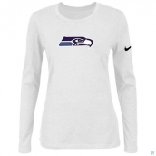 Nike Seattle Seahawks Women's Of The City Long Sleeve TriBlend TShirt White