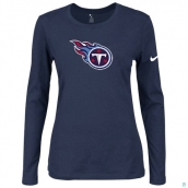 Nike Tennessee Titans Women's Of The City Long Sleeve TriBlend TShirt D-Blue