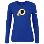 Nike Washington Red Skins Women's Of The City Long Sleeve TriBlend TShirt Blue