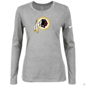 Nike Washington Red Skins Women's Of The City Long Sleeve TriBlend TShirt L-Grey