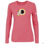 Nike Washington Red Skins Women's Of The City Long Sleeve TriBlend TShirt Pink