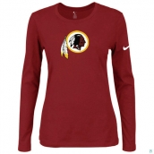 Nike Washington Red Skins Women's Of The City Long Sleeve TriBlend TShirt Red
