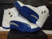 AAA Air Jordan 12 White Blue Silvery