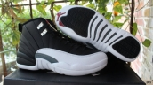 Super Perfect Air Jordan 12 Women Black White Silvery