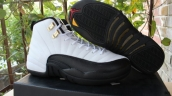 Super Perfect Air Jordan 12 Women White Black Golden