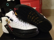 Super Perfect Air Jordan 12 Taxi White Black Golden