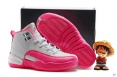 Air Jordan 12 Kid White Pink Silvery