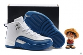 Air Jordan 12 Kid White Blue Silvery