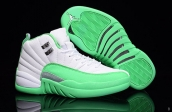 Air Jordan 12 Women White Green Silvery