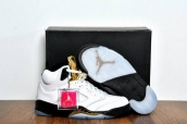 Perfect Air Jordan 5 White Black Golden 200