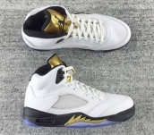 AAA Air Jordan 5 White Black Golden
