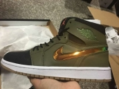Air Jordan 1 Perfect Army Green Black White Golden