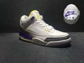 Perfect Air Jordan 3 NIKE Logo White Purple Yellow