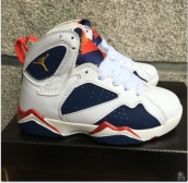 Air Jordan 7 Kids White Navy Blue Red