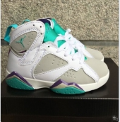 Air Jordan 7 Kids White Jade Green Purple