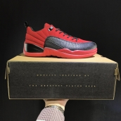 AAA Air Jordan 12 Low Sueded Black Red