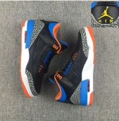 Perfect Air Jordan 3 Black Blue Orange