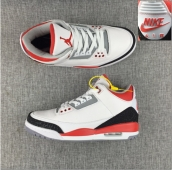 Perfect Air Jordan 3 Logo White Red Black