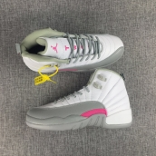 Perfect Air Women Jordan 12 White Grey Pink