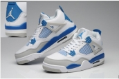 AAA Air Jordan 4 Blue White Grey