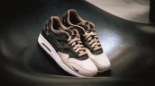 Women Louis Vuitton x Nike Air Max 1 Custom Brown Gold