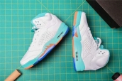 Air Jordan 5 Woman White Jade Orange