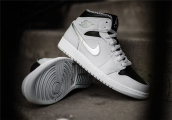 Air Jordan 1 Mid Wolf Grey Couple Shoes